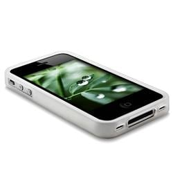 INSTEN Clear White Bumper TPU Rubber Phone Case Cover for Apple iPhone 4 - Thumbnail 1