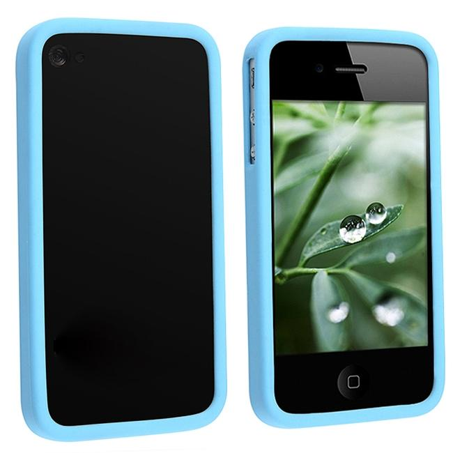 Sky Blue Bumper TPU Rubber Case for Apple iPhone 4