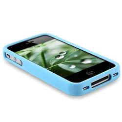 Sky Blue Bumper TPU Rubber Case for Apple iPhone 4 - Thumbnail 1