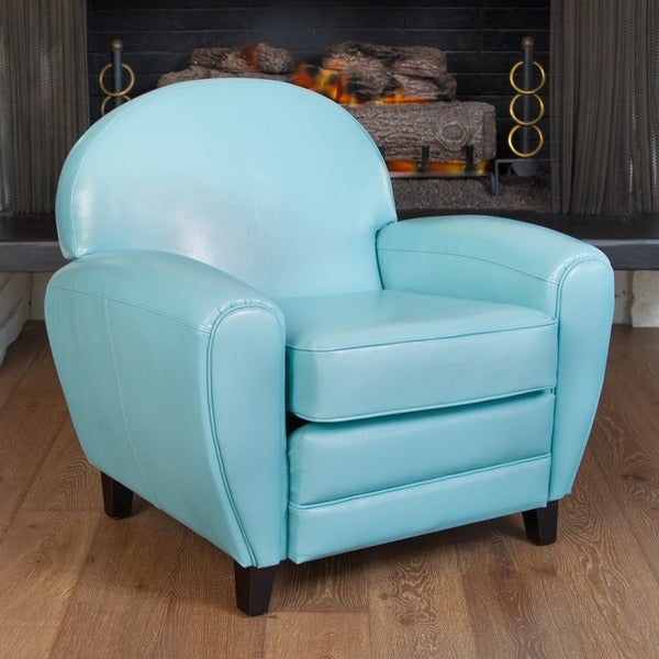 Oversized Teal Blue Leather Club Chair by Christopher Knight Home