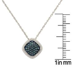 Unending Love Sterling Silver 1/4ct TDW Blue Diamond Necklace