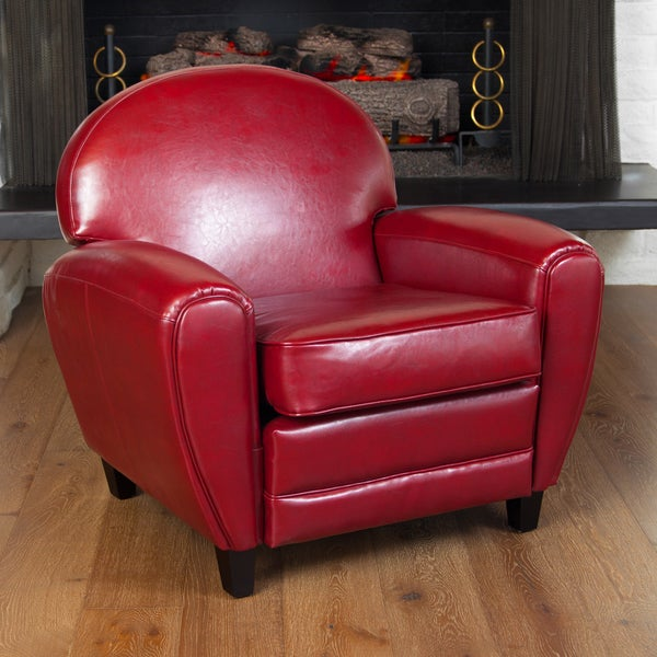 Oversized Ruby Red Leather Club Chair by Christopher Knight Home