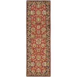 Safavieh Micro Hand-hooked Chelsea Kerman Rose/ Black Wool Runner Rug (2'6 x 10')