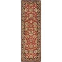 Safavieh Micro Hand-hooked Chelsea Kerman Rose/ Black Wool Runner Rug (2'6 x 8')