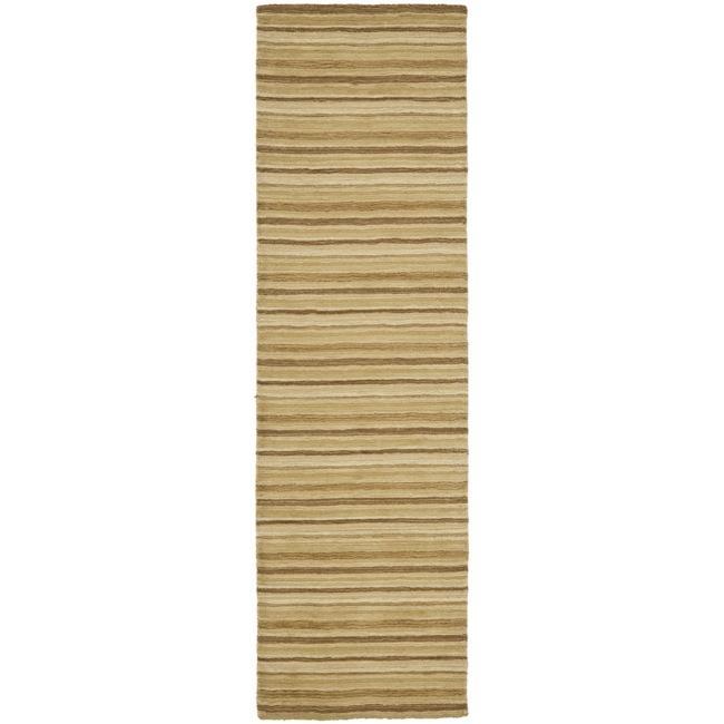 Safavieh Handmade Stripes Ivory/ Brown New Zealand Wool Runner (2'3 x 8')
