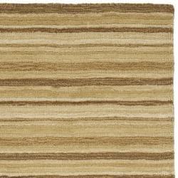 Safavieh Handmade Stripes Ivory/ Brown New Zealand Wool Runner (2'3 x 8') - Thumbnail 1