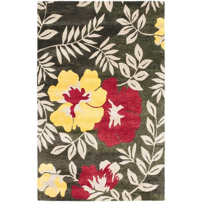 Safavieh Handmade Soho Brown/Multi New Zealand Wool Floral Rug - 7'6' x 9'6'