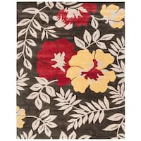 "Safavieh Handmade Soho Brown/Multi New Zealand Wool Floral Rug - 7'6"" x 9'6"""