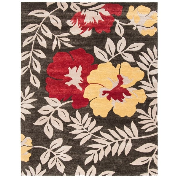 "Safavieh Handmade Soho Brown/Multi New Zealand Wool Floral Rug - 7'6"" x 9'6"""