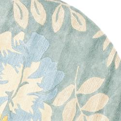 Safavieh Handmade Soho Blue/ Multi New Zealand Wool Rug (6' Round) - Thumbnail 1