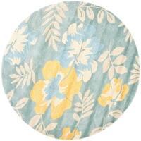 Safavieh Handmade Soho Blue/ Multi New Zealand Wool Rug - 6' x 6' Round