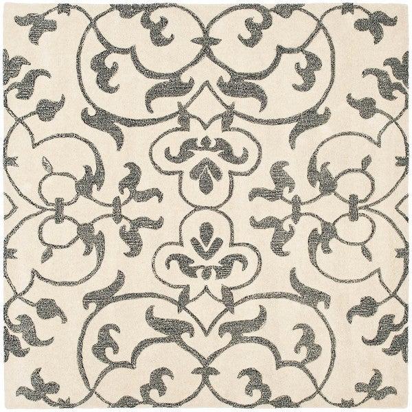Safavieh Handmade Soho Ivory/ Grey New Zealand Wool Rug (6' Square)