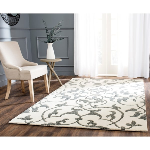 "Safavieh Handmade Soho Ivory/ Grey New Zealand Wool Rug - 7'6"" x 9'6"""