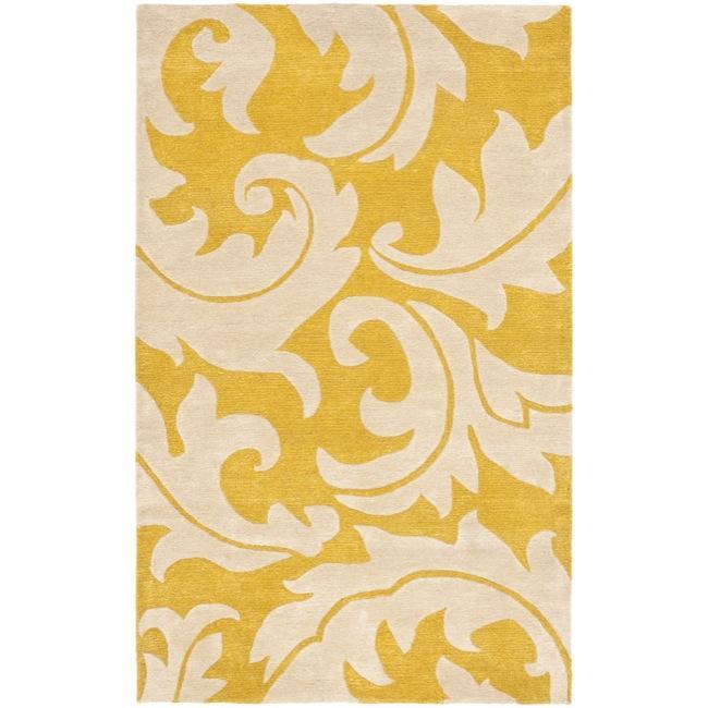 Safavieh Handmade Soho Gold/ Ivory New Zealand Wool Rug - 3'6' x 5'6'
