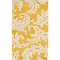 Safavieh Handmade Soho Gold/ Ivory New Zealand Wool Rug - 3'6' x 5'6' - Thumbnail 0