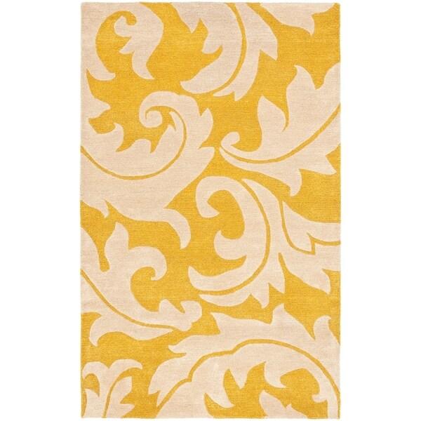 "Safavieh Handmade Soho Gold/ Ivory New Zealand Wool Rug - 3'6"" x 5'6"""