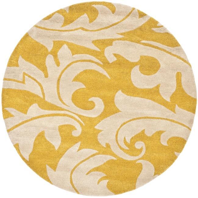 Safavieh Handmade Soho Gold/ Ivory New Zealand Wool Rug (6' Round)