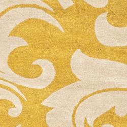Safavieh Handmade Soho Gold/ Ivory New Zealand Wool Rug (6' Round) - Thumbnail 2