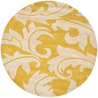 Safavieh Handmade Soho Gold/ Ivory New Zealand Wool Rug - 6' x 6' Round