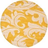 Safavieh Handmade Soho Gold/ Ivory New Zealand Wool Rug - 6' x 6' Round