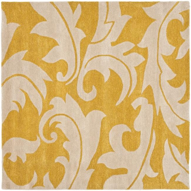 Safavieh Handmade Soho Gold/ Ivory New Zealand Wool Rug (6' Square)