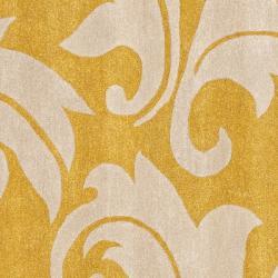 Safavieh Handmade Soho Gold/ Ivory New Zealand Wool Rug (6' Square) - Thumbnail 2
