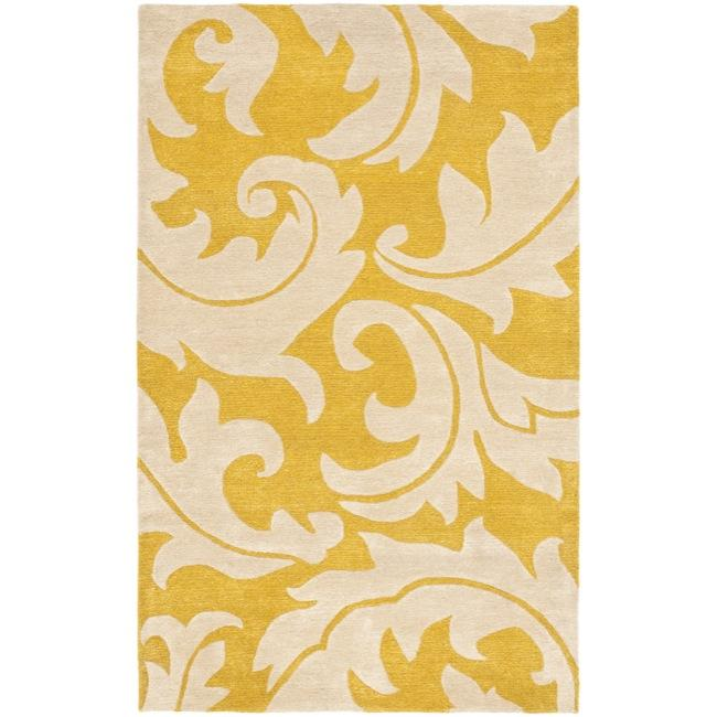 Safavieh Handmade Soho Gold/ Ivory New Zealand Wool Rug - 7'6 x 9'6