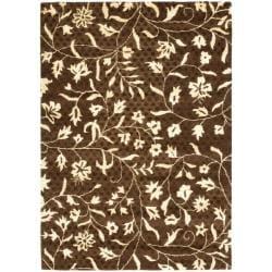"Safavieh Handmade Soho Brown/ Ivory Floral-Vine-Print New Zealand Wool Rug (3'6"" x 5'6"")"
