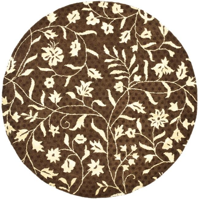 Safavieh Contemporary Handmade Soho Brown/ Ivory New Zealand Wool Rug (6' Round)