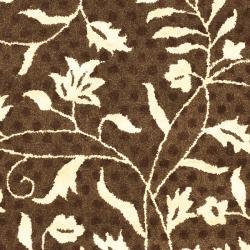 Safavieh Contemporary Handmade Soho Brown/ Ivory New Zealand Wool Rug (6' Round) - Thumbnail 2
