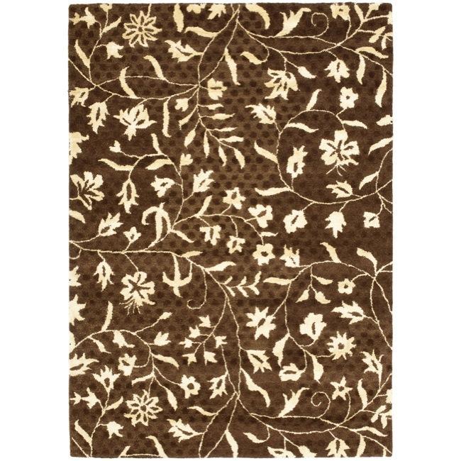 Safavieh Handmade Soho Brown/ Ivory New Zealand Wool Rug - 7'6 x 9'6