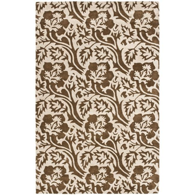 "Safavieh Handmade Soho Brown/ Ivory Floral-Print New Zealand Wool Rug (3'6"" x 5'6"")"