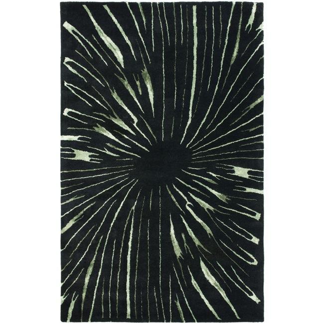 Safavieh Handmade Soho Black/ Green New Zealand Wool Rug - 7'6 x 9'6