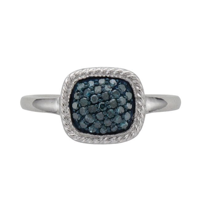 Unending Love Sterling Silver 1/4ct TDW Blue Diamond Square Fashion Ring