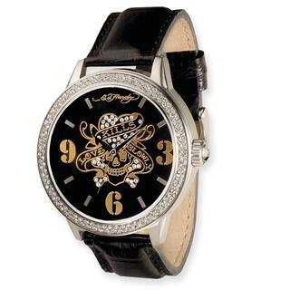 Versil Ed Hardy Men's Apollo/ Love Kills Black Leather Strap Watch|https://ak1.ostkcdn.com/images/products/5893449/P13600182.jpg?impolicy=medium