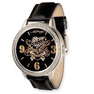 Versil Ed Hardy Men's Apollo/ Love Kills Black Leather Strap Watch