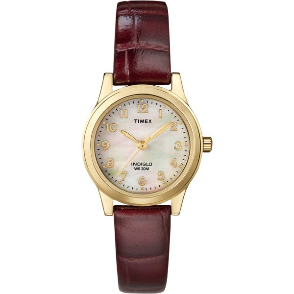 Timex T21693 Women's Burgundy Leather Strap Watch