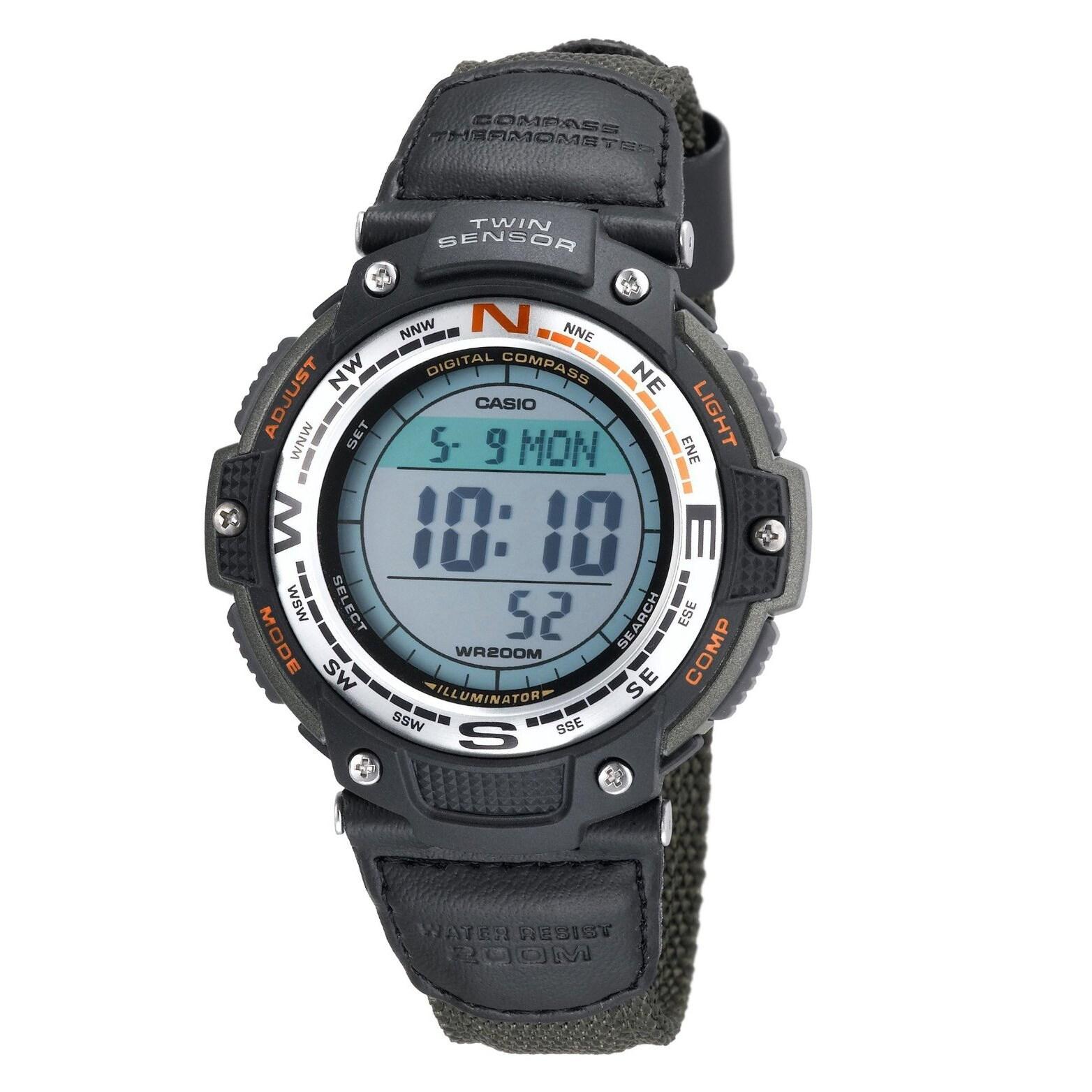 Casio Men's Green Digital Compass Watch with Twin Sensors...