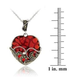 Glitzy Rocks Sterling Silver Red Glass and Marcasite Heart Necklace - Thumbnail 2