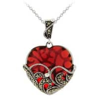 Glitzy Rocks Sterling Silver Red Glass and Marcasite Heart Necklace