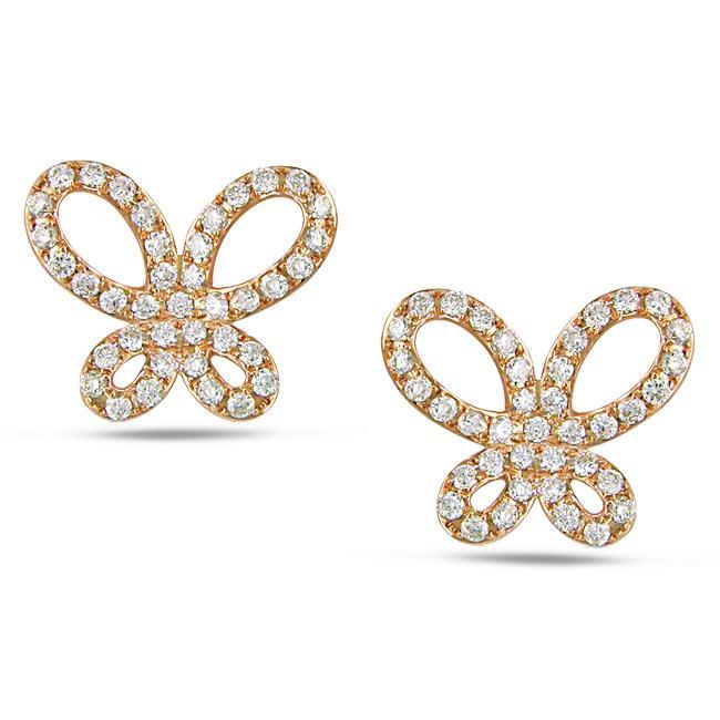 Miadora 14k Pink Gold 1/5ct TDW Diamond Butterfly Earrings