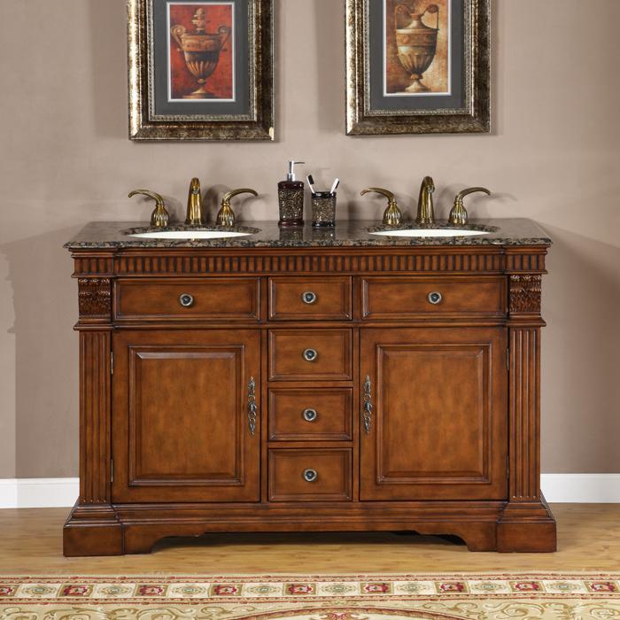 Silkroad exclusive 55 inch double sink cabinet bathroom - 52 inch bathroom vanity double sink ...