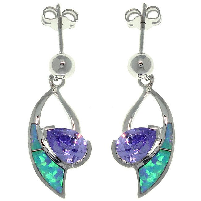 Carolina Glamour Collection Sterling Silver Created Opal and Cubic Zirconia Dangle Earrings