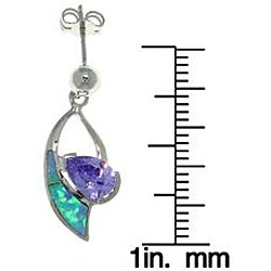 Carolina Glamour Collection Sterling Silver Created Opal and Cubic Zirconia Dangle Earrings - Thumbnail 2