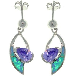 Sterling Silver Created Opal and Cubic Zirconia Dangle Earrings