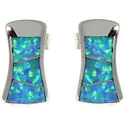 Carolina Glamour Collection Sterling Silver Hour Glass Created Opal Stud Earrings