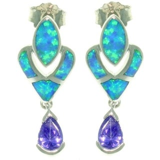 Sterling Silver Created Opal and Cubic Zirconia Victorian Style Earrings