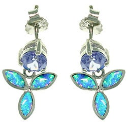 Carolina Glamour Collection Sterling Silver Wild Iris Created Opal and Cubic Zirconia Earrings