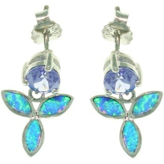 Sterling Silver Wild Iris Created Opal and Cubic Zirconia Earrings