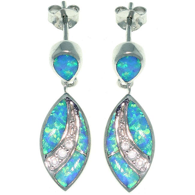 Carolina Glamour Collection Sterling Silver Created Opal and Cubic Zirconia Marquis Earrings